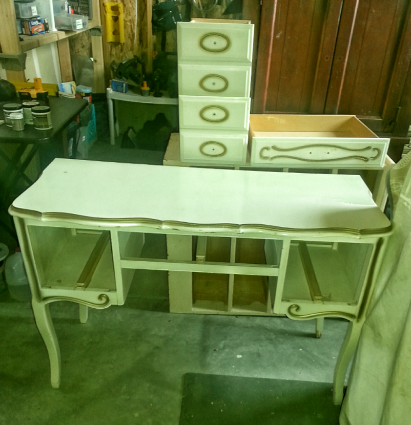 Before - 50's Wood Console Table in yellowish cream and gold