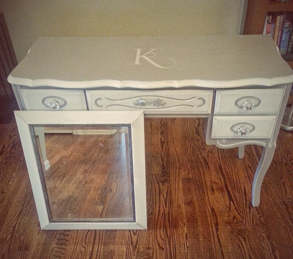 After - Console Table chalk painted with matching painted mirror